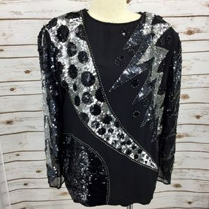 Oleg Cassini silk sequin blouse evening Vintage L